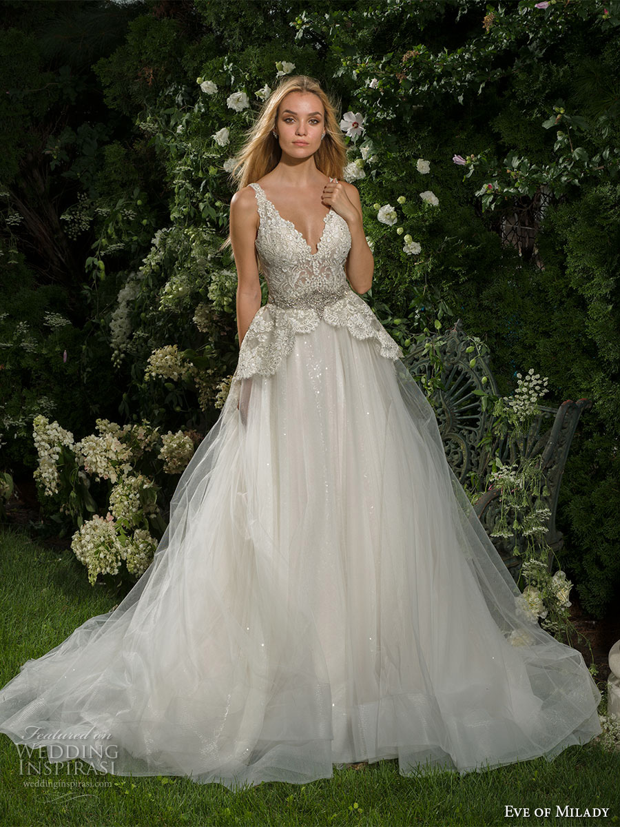 eve of milady fall 2016 bridal sleeveless emebellished strap v neck heavily embellished bodice tulle skirt romantic princess a  line wedding dress low v back chapel train (1561) mv