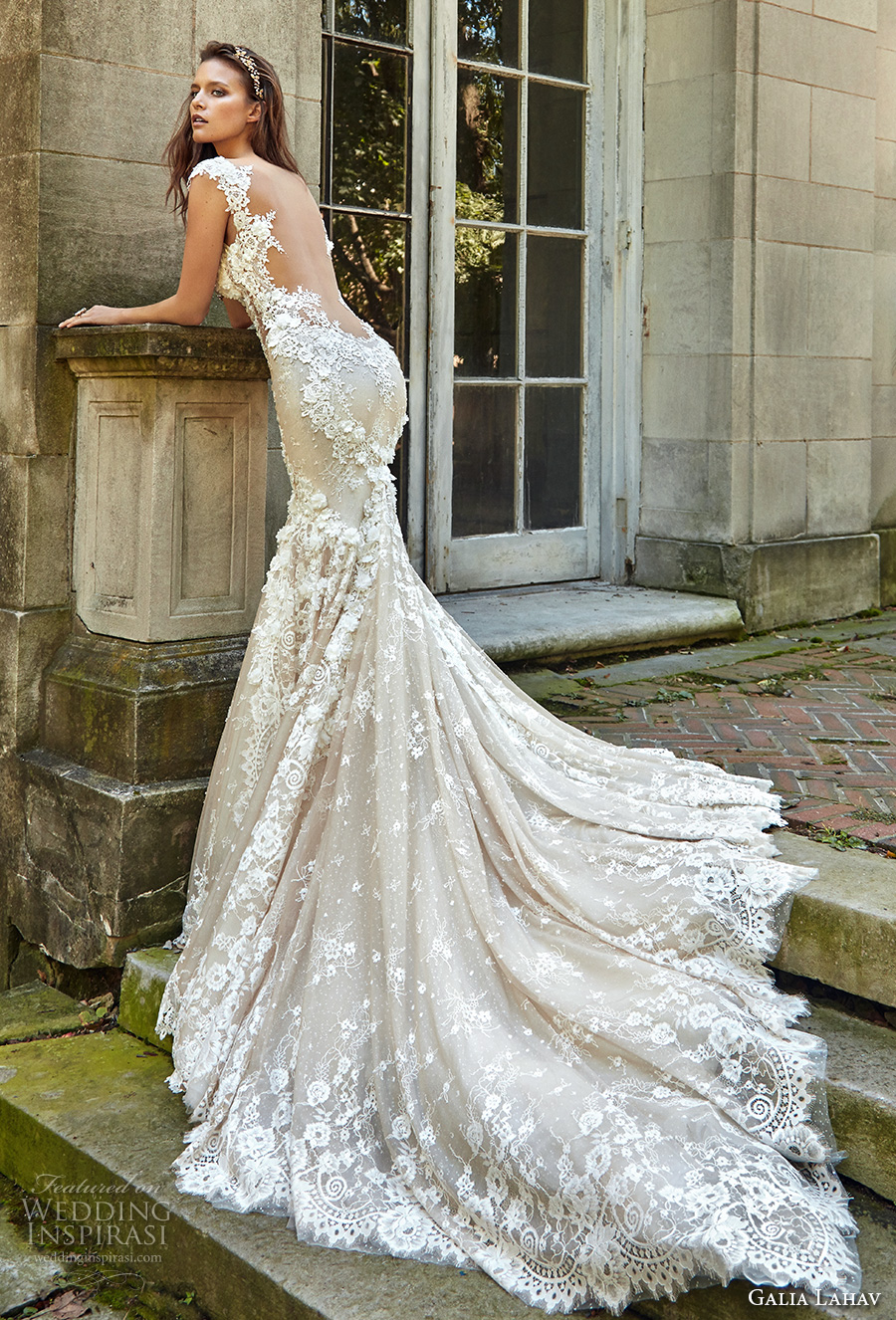 galia lahav fall 2017 bridal cap sleeves scoop neckline full embroidered elegant mermaid wedding dress low back chapel train (emma) bv