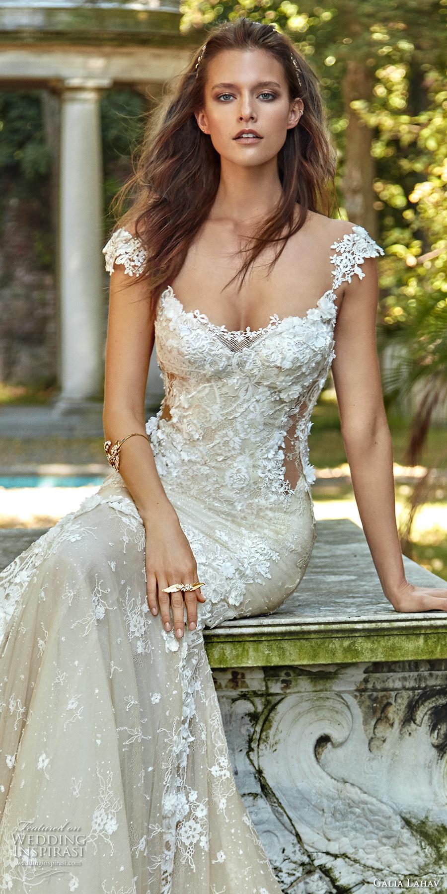 galia lahav fall 2017 bridal cap sleeves scoop neckline full embroidered elegant mermaid wedding dress low back chapel train (emma) zv