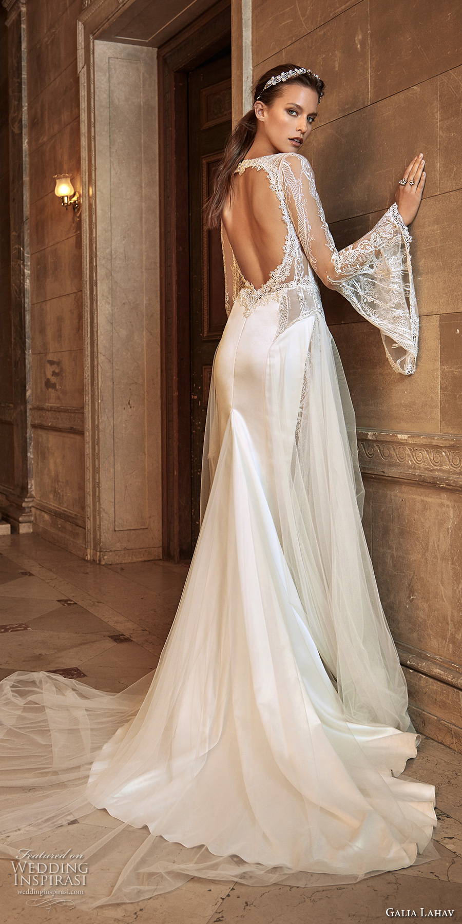 galia lahav fall 2017 bridal long bell sleeves illusion bateau deep plunging sweetheart neckline satin skirt elegant sheath wedding dress keyhole back chapel train (penelope) bv