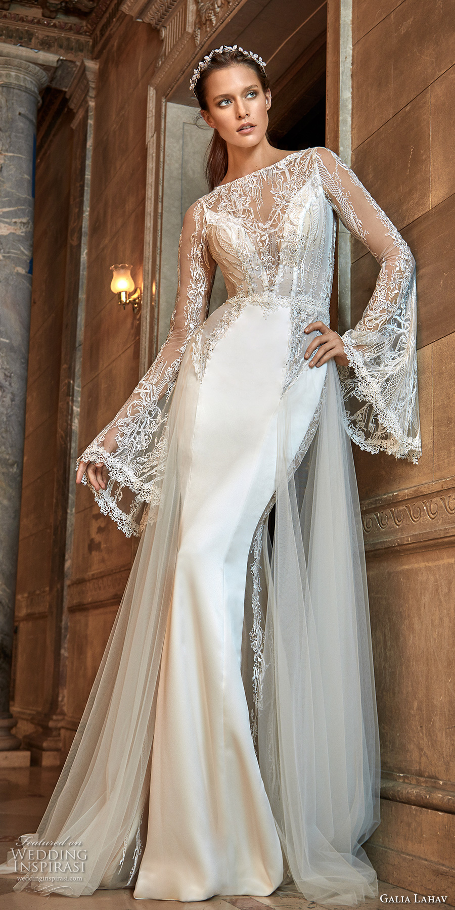Galia Lahav Fall 2017 Bridal Long Bell Sleeves Illusion Bateau Deep Plunging Sweetheart Neckline Satin Skirt