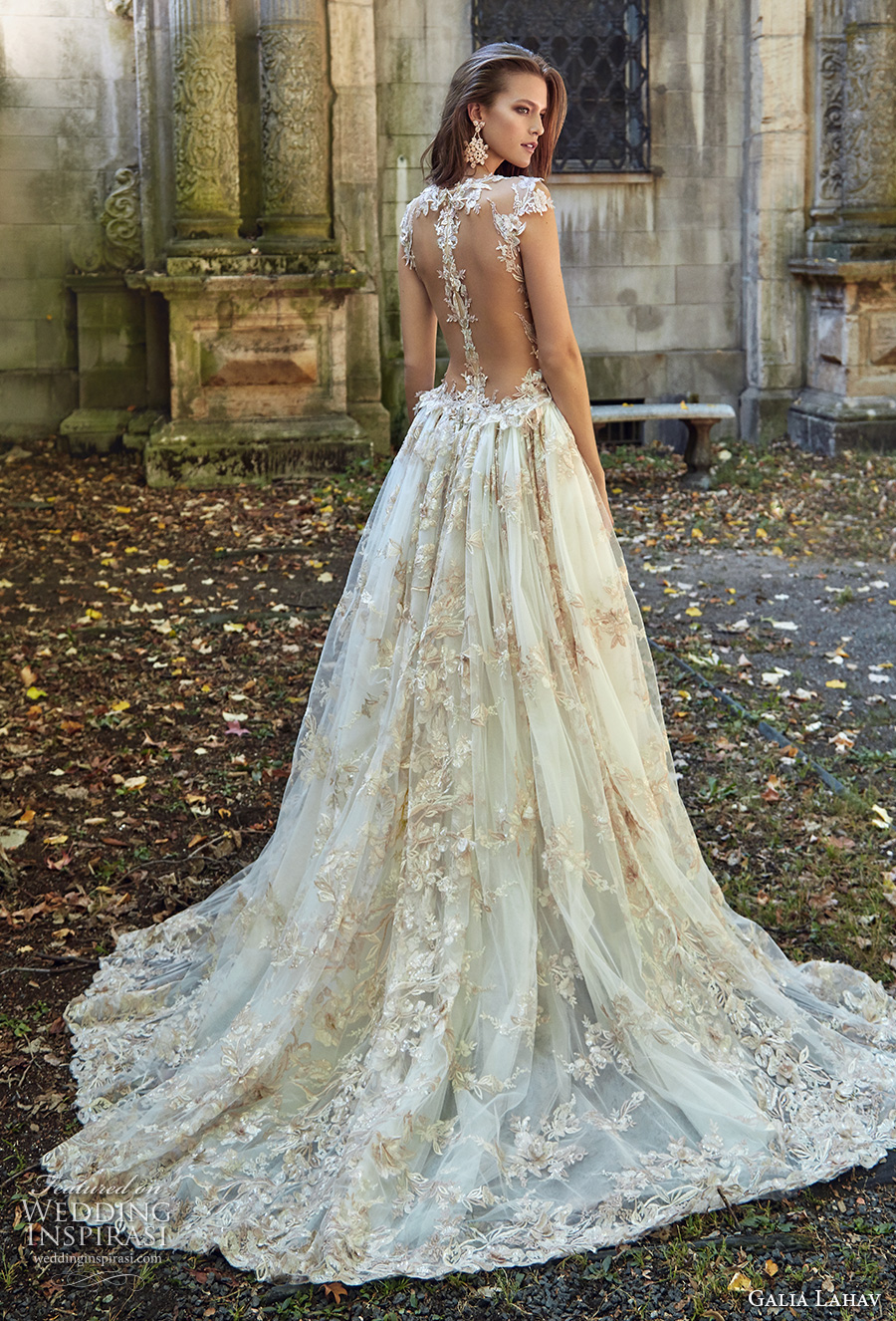 galia lahav fall 2017 bridal sleeveless deep plunging v neck full embellishment sexy princess ball gown a line wedding dress overskirt illusion low back chapel train (lilyrose) bv