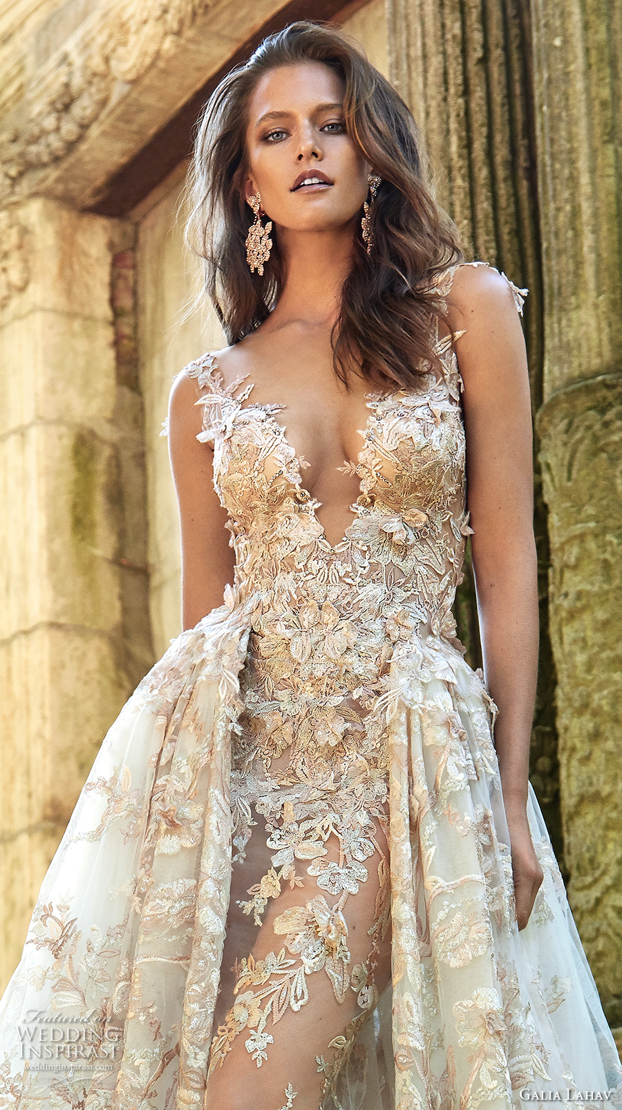 galia lahav fall 2017 bridal sleeveless deep plunging v neck full embellishment sexy princess ball gown a line wedding dress overskirt illusion low back chapel train (lilyrose) zv