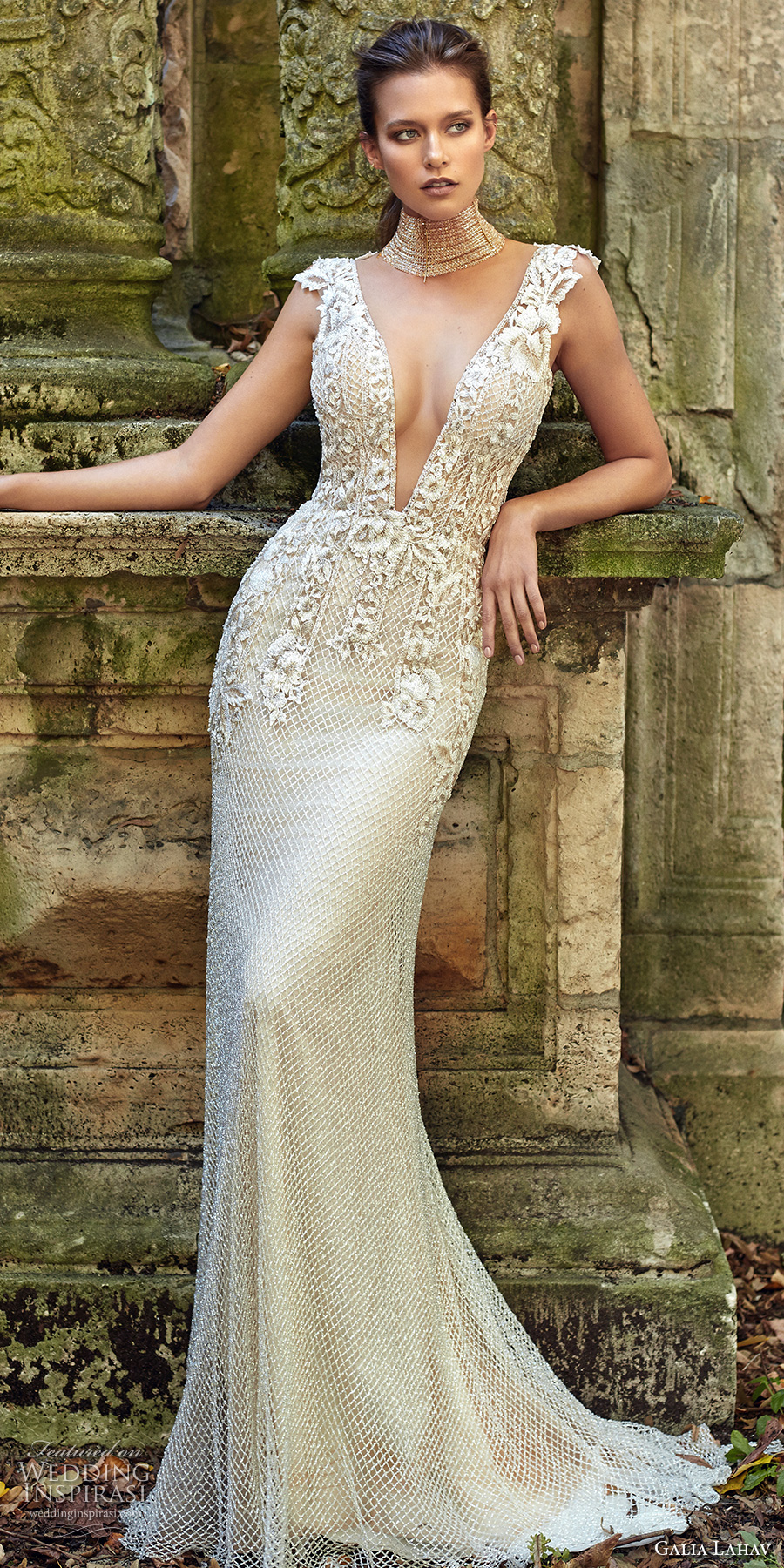 galia lahav fall 2017 bridal sleeveless deep plunging v neck heavily embellished bodice elegant sheath trumpet wedding dress low back sweep train (summerbella) mv