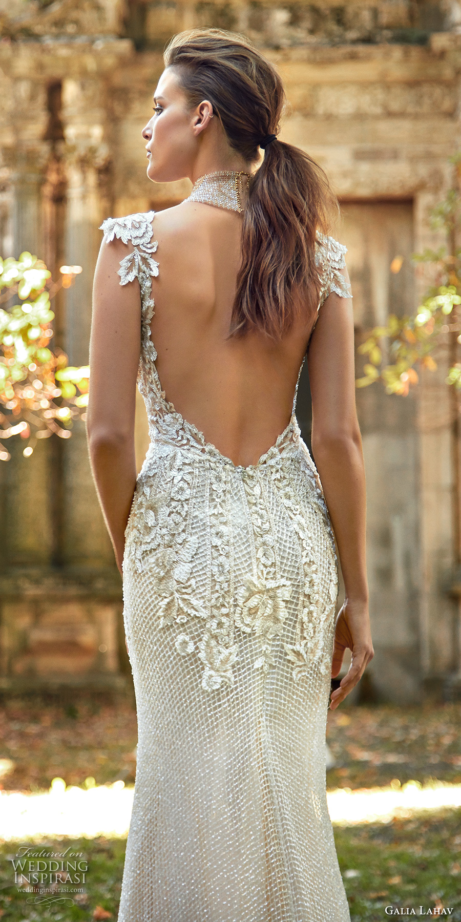 galia lahav fall 2017 bridal sleeveless deep plunging v neck heavily embellished bodice elegant sheath trumpet wedding dress low back sweep train (summerbella) zbv