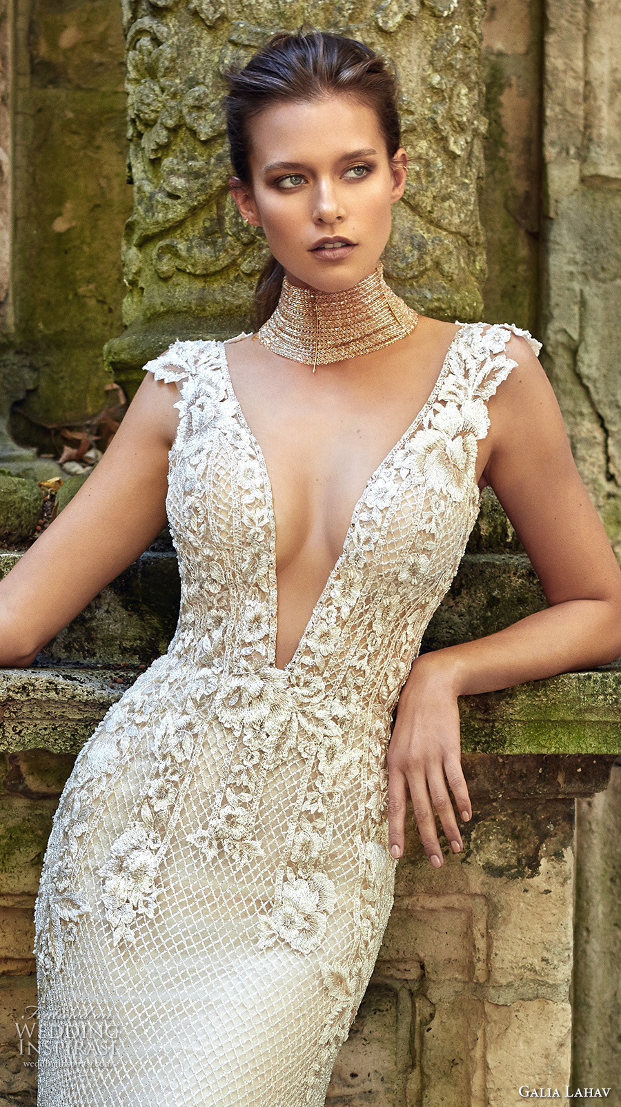 galia lahav fall 2017 bridal sleeveless deep plunging v neck heavily embellished bodice elegant sheath trumpet wedding dress low back sweep train (summerbella) zv