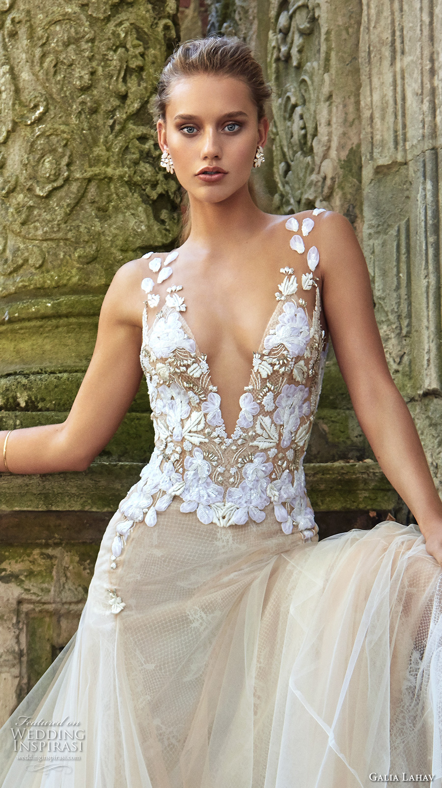 galia lahav fall 2017 bridal sleeveless deep plunging v neck heavily embroidered bodice drop waist tulle skirt sexy a line wedding dress open back chapel train (lauren) zv