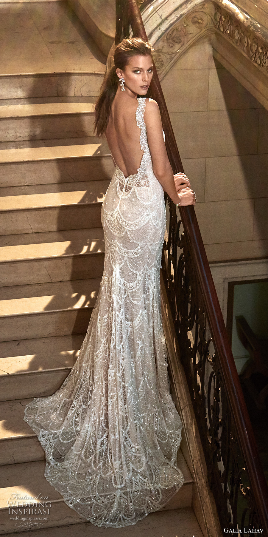 galia lahav fall 2017 bridal sleeveless strap deep plunging v neck full embroidered elegant sexy sheath wedding dress low back chapel train (harper) bv