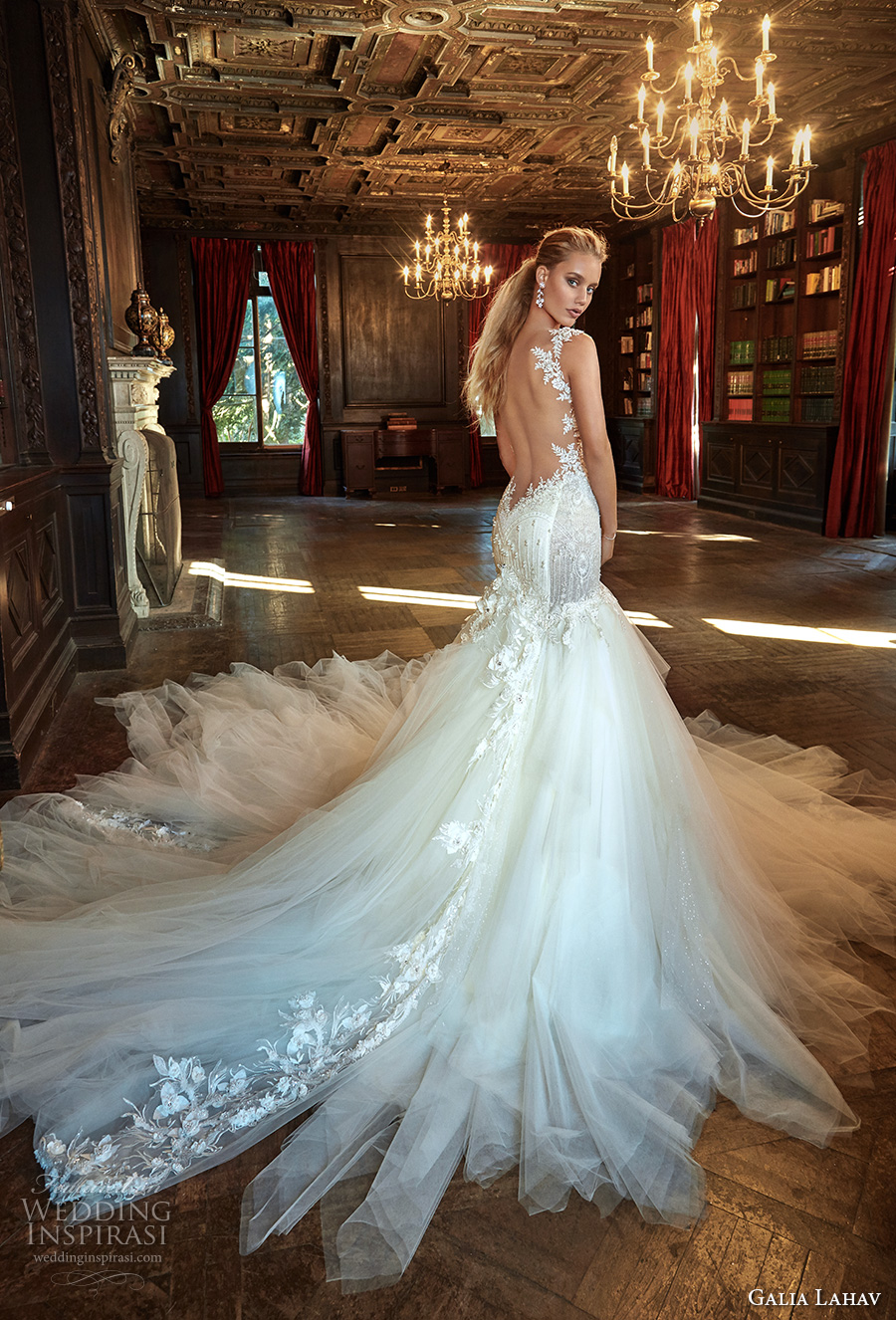 galia lahav fall 2017 bridal sleeveless strap sweetheart neckline bustier bodice heavily embellished bodice tulle skirt sexy mermaid wedding dress low back chapel train (new suzanne) bv