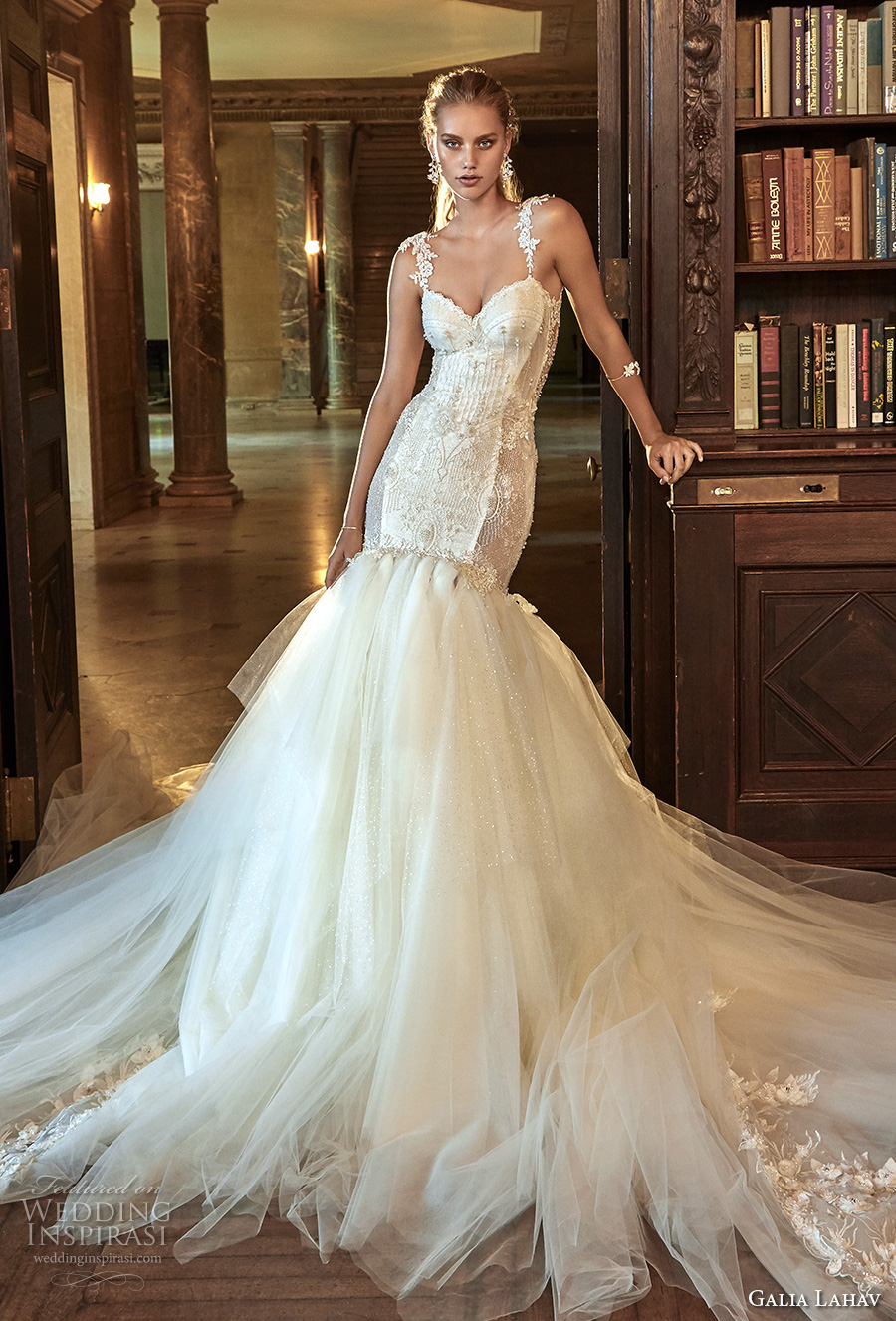 galia lahav fall 2017 bridal sleeveless strap sweetheart neckline bustier bodice heavily embellished bodice tulle skirt sexy mermaid wedding dress low back chapel train (new suzanne) mv