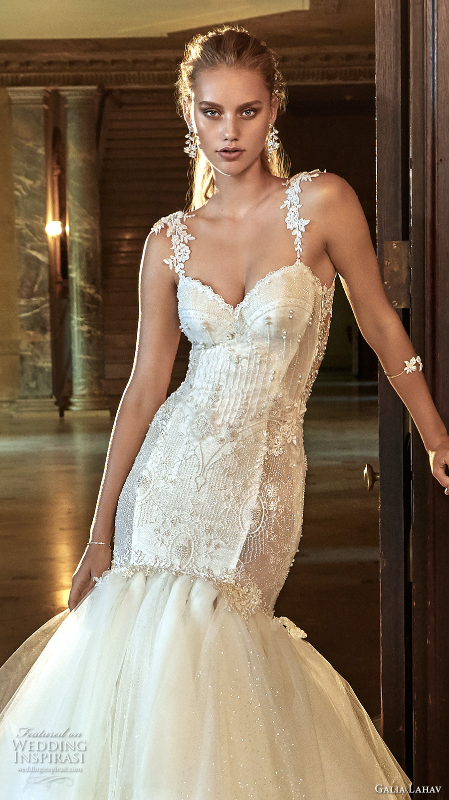galia lahav fall 2017 bridal sleeveless strap sweetheart neckline bustier bodice heavily embellished bodice tulle skirt sexy mermaid wedding dress low back chapel train (new suzanne) zv