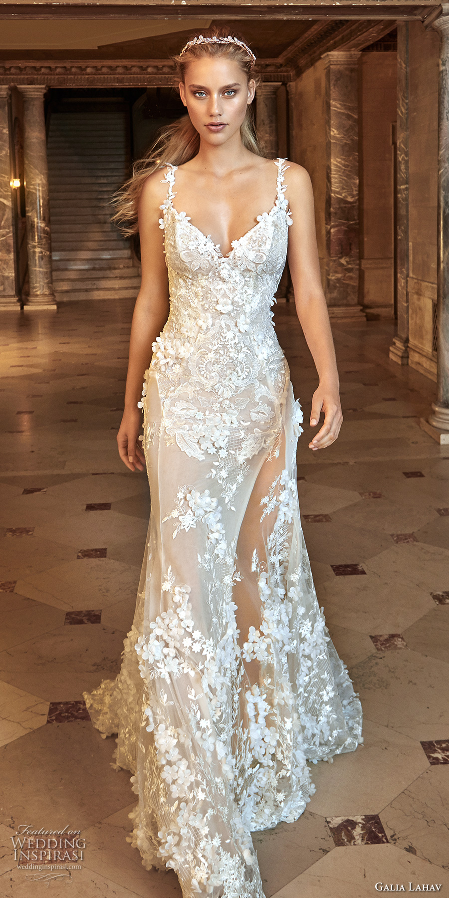 galia lahav fall 2017 bridal sleeveless thin strap sweetheart neck full embellishment elegant sexy sheath wedding dress open back chapel train (kira) mv