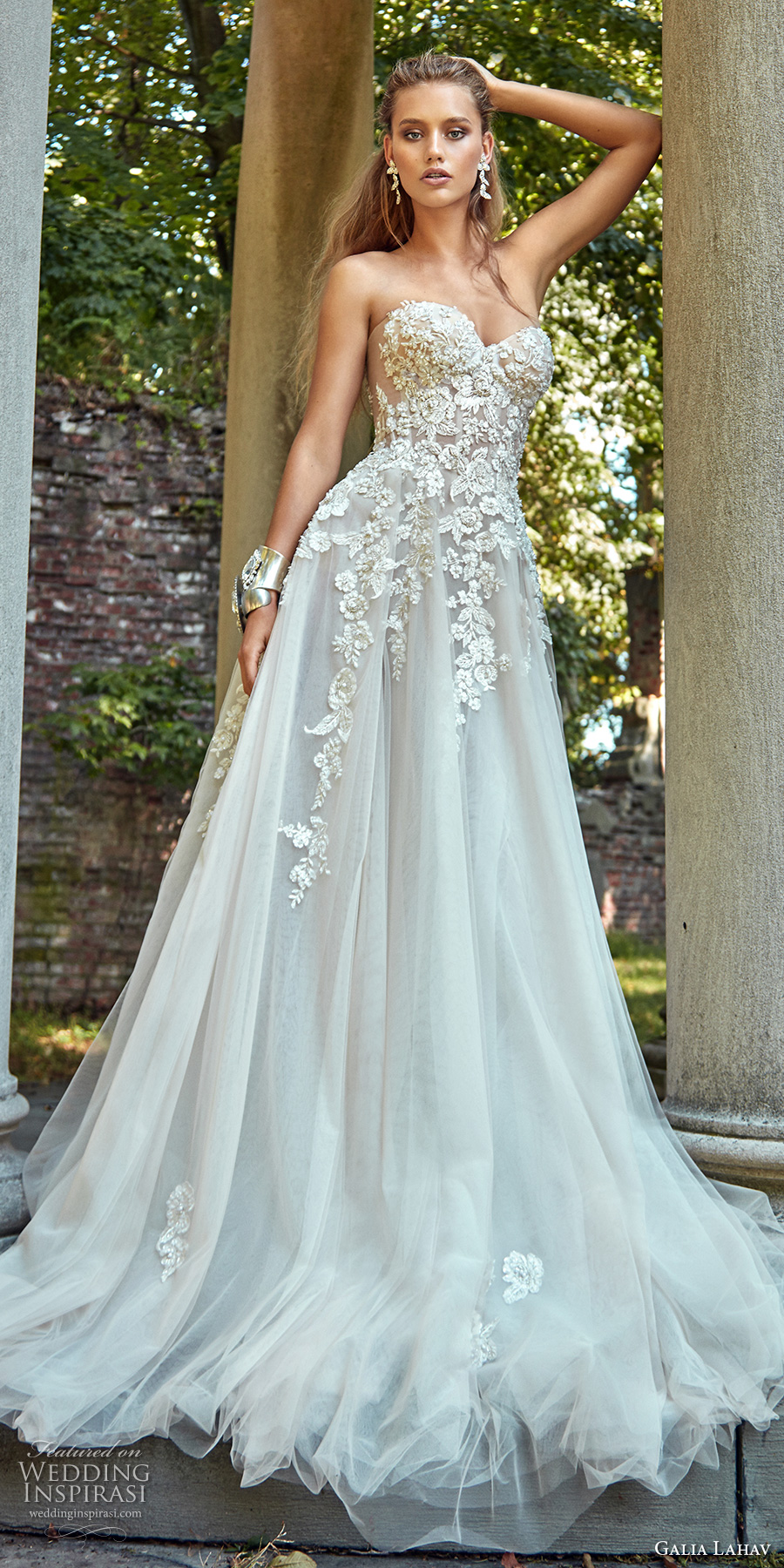 galia lahav fall 2017 bridal strapless sweetheart neckline heavily embroidered bodice tulle skirt romantic sexy a  line wedding dress chapel train (gia) mv