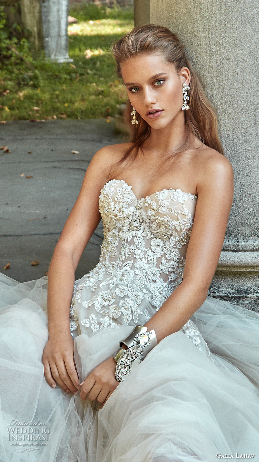 galia lahav fall 2017 bridal strapless sweetheart neckline heavily embroidered bodice tulle skirt romantic sexy a  line wedding dress chapel train (gia) zv