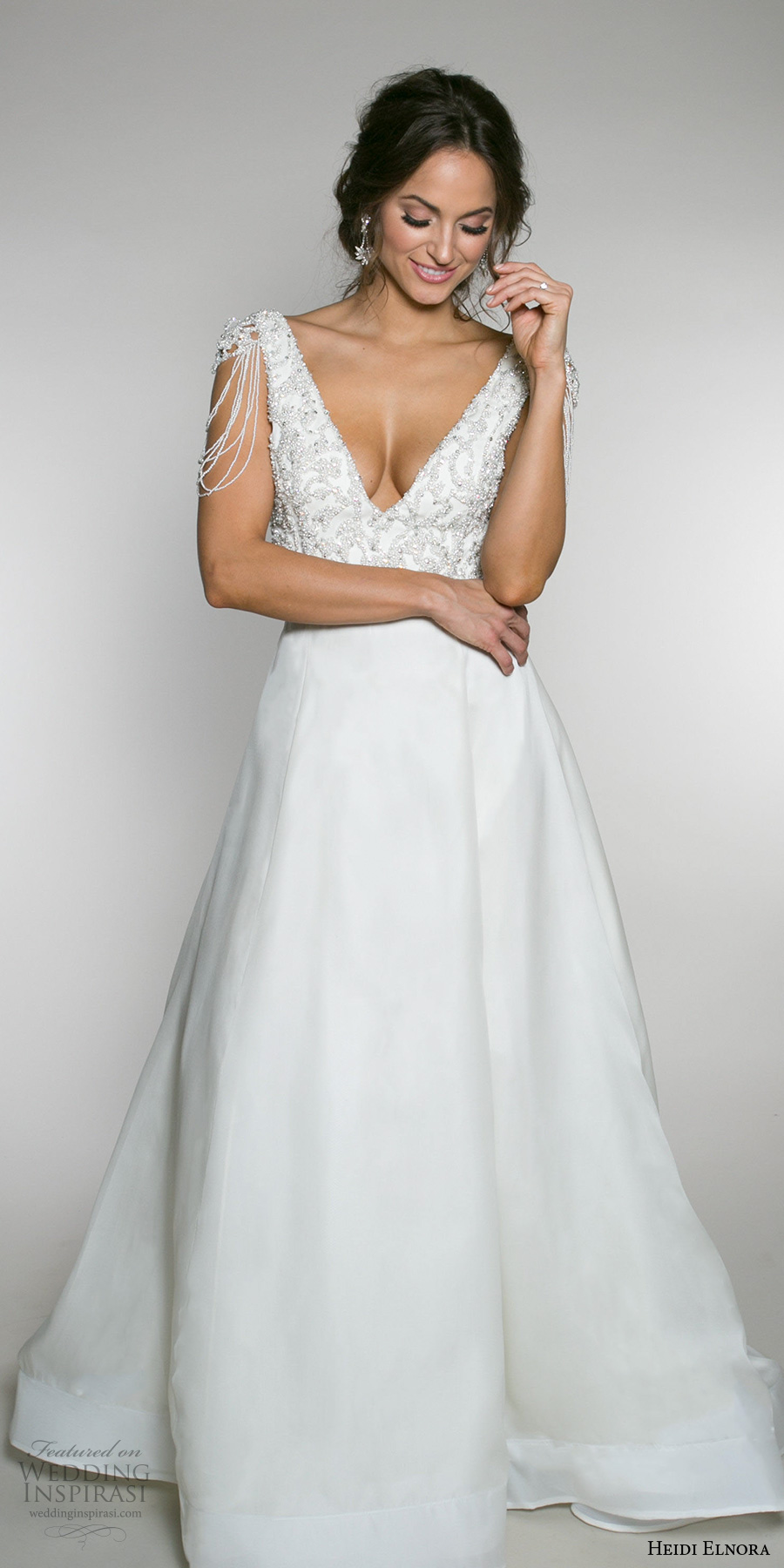 heidi elnora fall 2017 bridal sleeveless strap heavily embellished bodice elegant a  line wedding dress low v back chapel train (lotte luxe) mv
