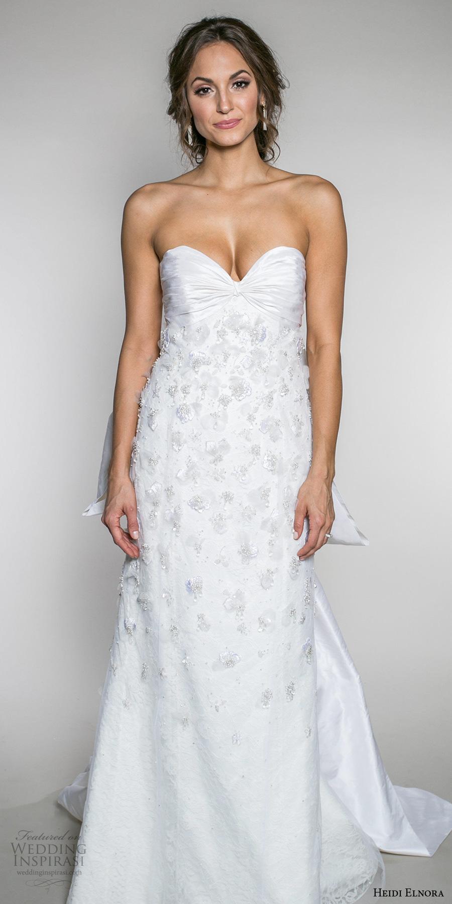 heidi elnora fall 2017 bridal strapless sweetheart neckline heavily embellished bodice romantic sheath wedding dress bow back sweep train (frances grace) mv