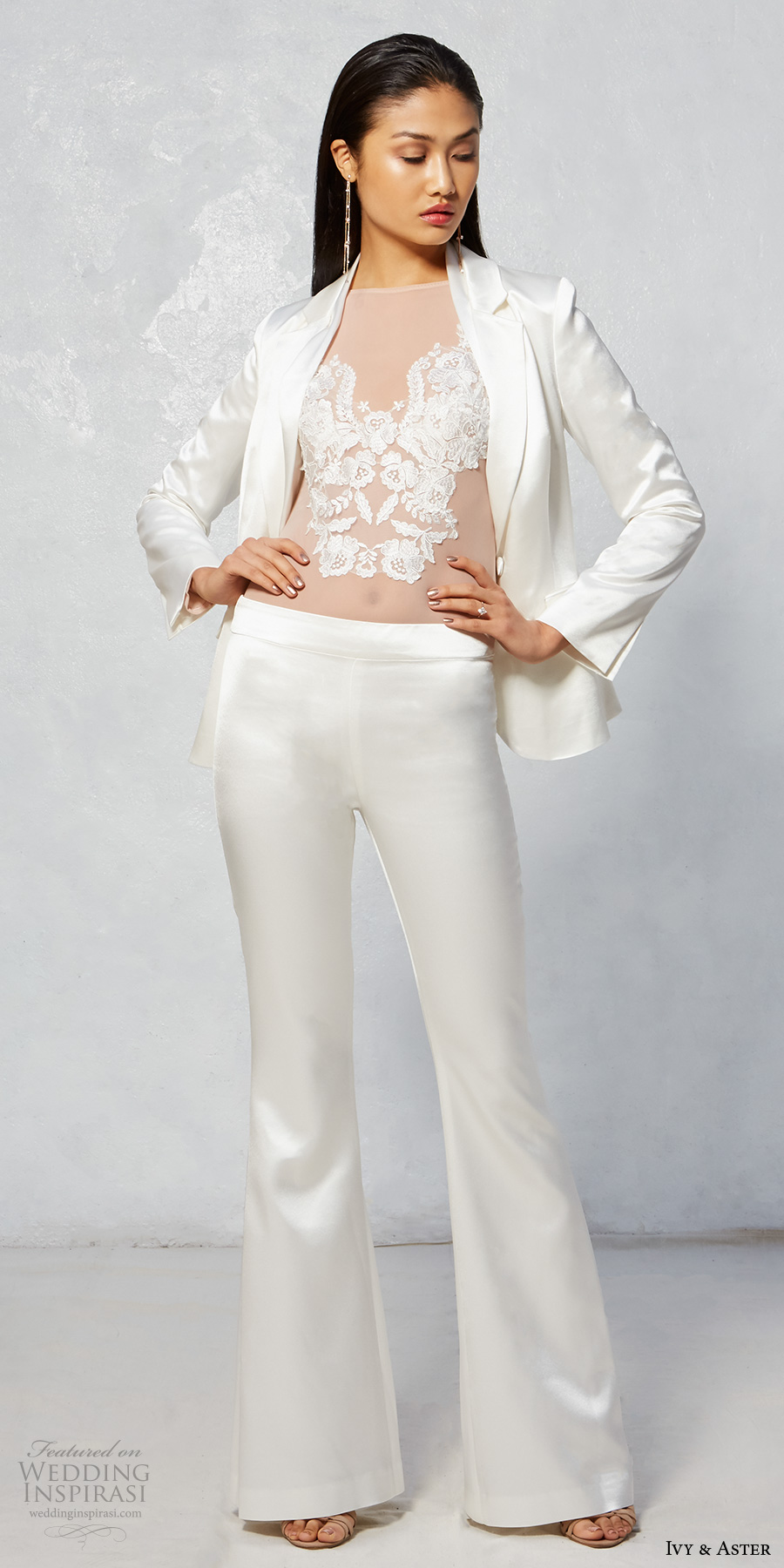ivy aster fall 2017 bridal bateau neckline heavily lace embroidery over sheer top with long sleeves wedding jacket with bell bottom wedding pants (lyra jacket pants and celine shirt) mv