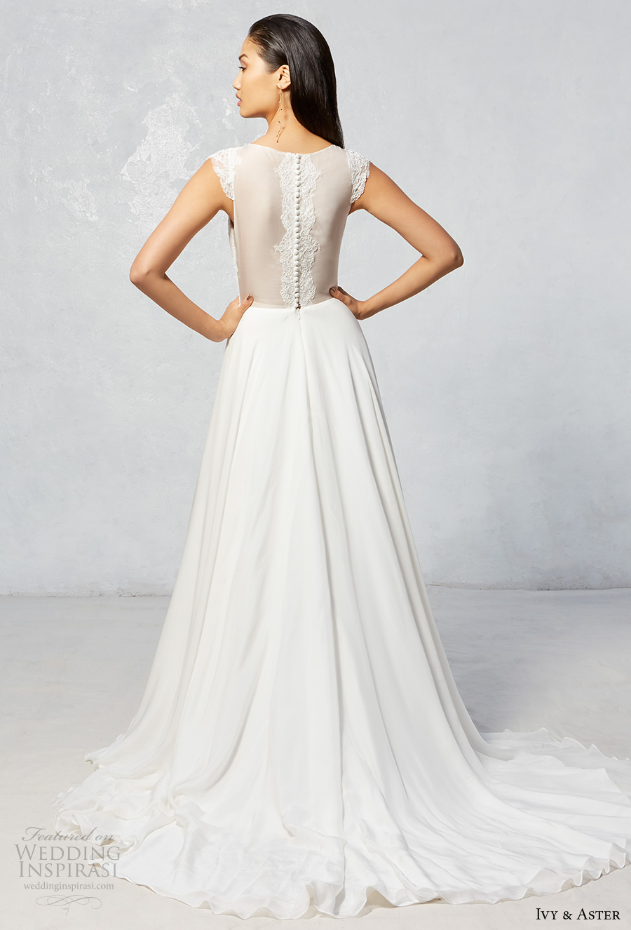 ivy aster fall 2017 bridal cap sleeves illusion boat neckline deep v neck lightly embroidered bodice flowy skirt a  line wedding dress sheer back chapel train (skype) bv