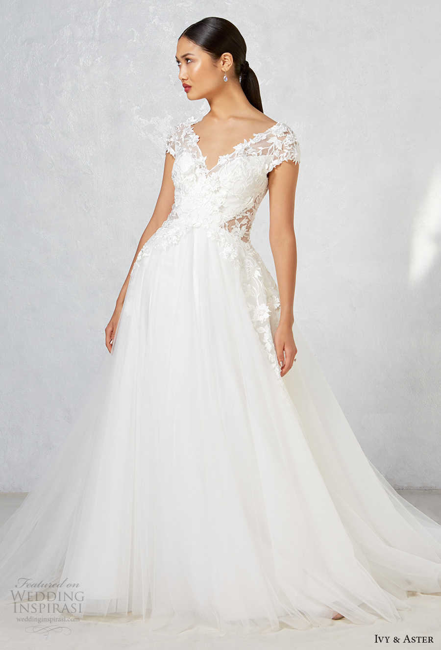 ivy aster fall 2017 bridal cap sleeves v neck heavily embroidered bodice tulle skirt romanitc a  line wedding dress open v back chapel train (ayla) mv