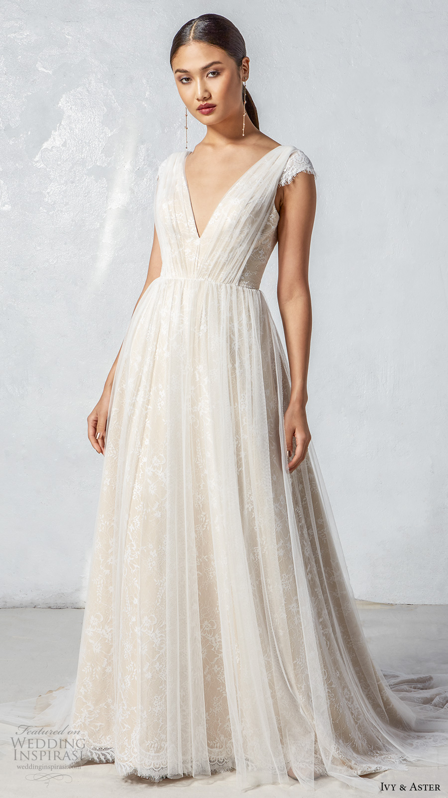 ivy aster fall 2017 bridal cap sleeves  v neck ruched bodice ruched skirt romantic ivory color a  line wedding dress open v back chapel train  (audra) mv