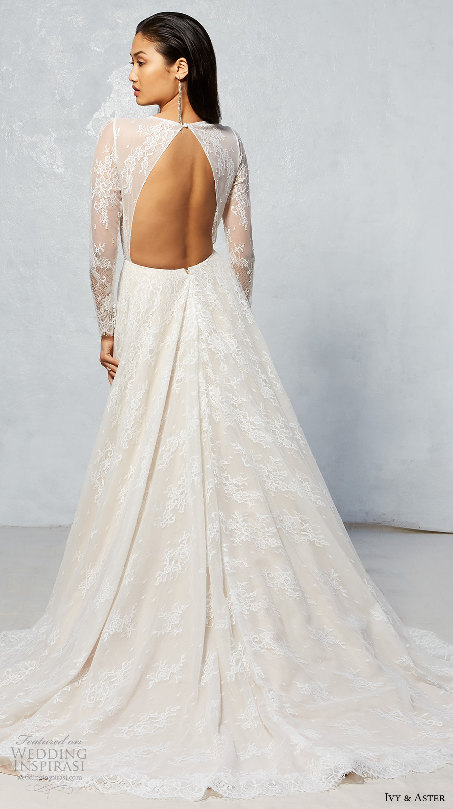 ivy aster fall 2017 bridal lace long sleeves illusion jewel neck deep v neckline full embroidered romantic ivory color a  line wedding dress keyhole back chapel train (jay) bv