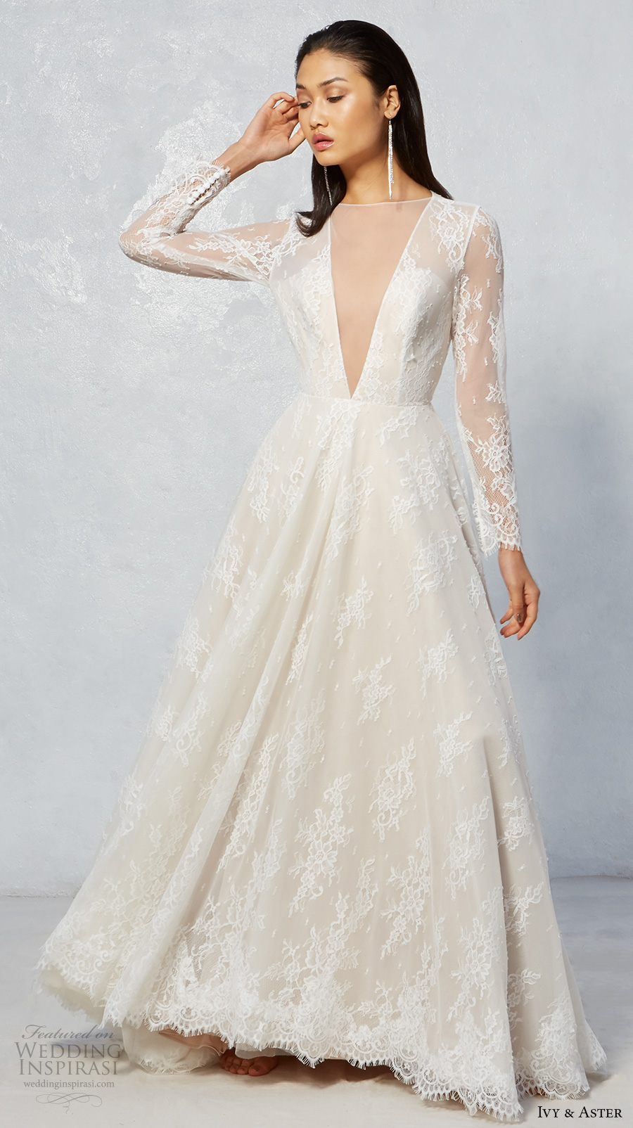 ivy aster fall 2017 bridal lace long sleeves illusion jewel neck deep v neckline full embroidered romantic ivory color a  line wedding dress keyhole back chapel train (jay) mv