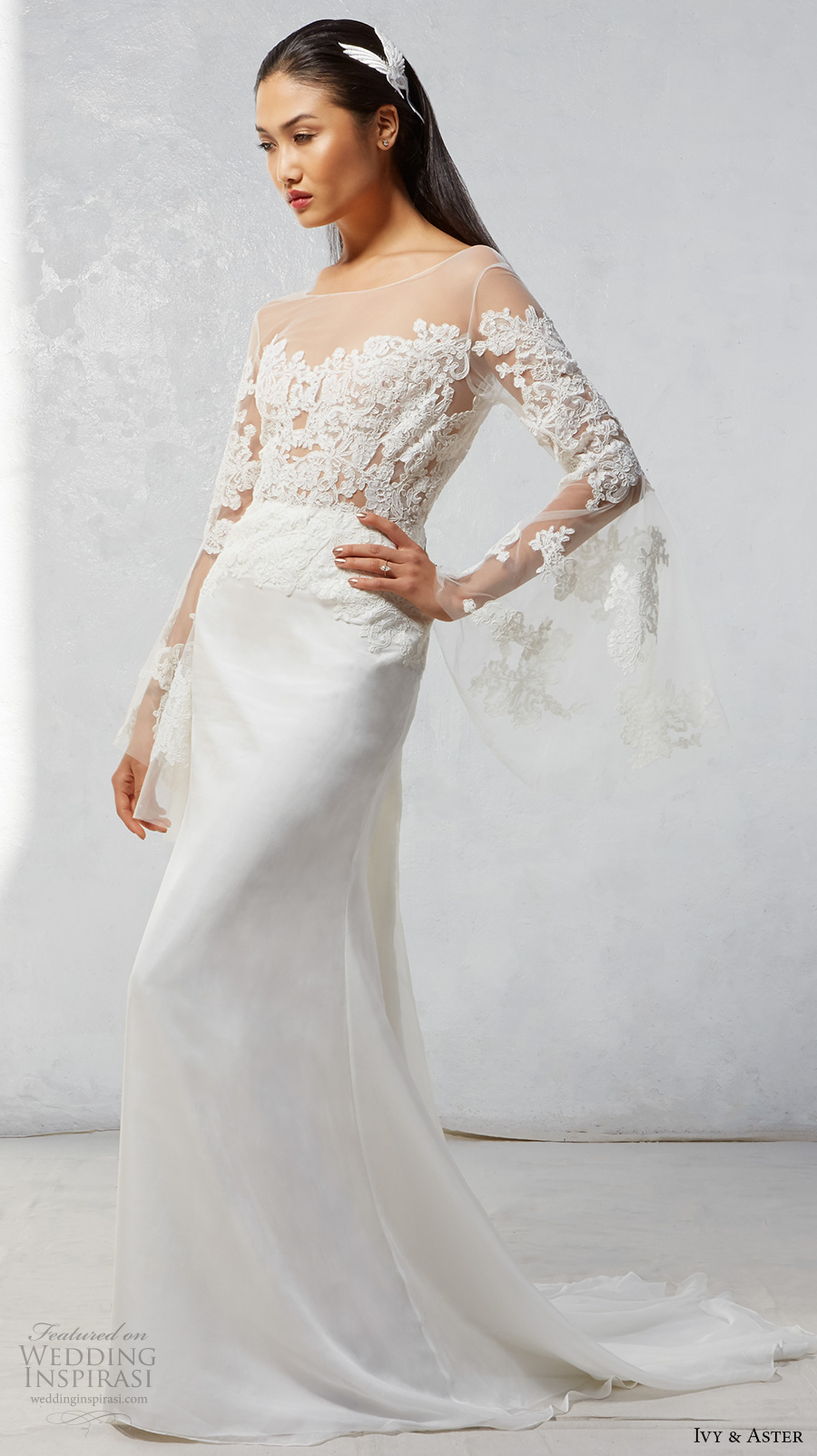 ivy aster fall 2017 bridal long bell sleeves illusion bateau sweetheart neckline heavily embroidered bodice elegant romantic modified a  line wedding dress chapel train (luna) mv