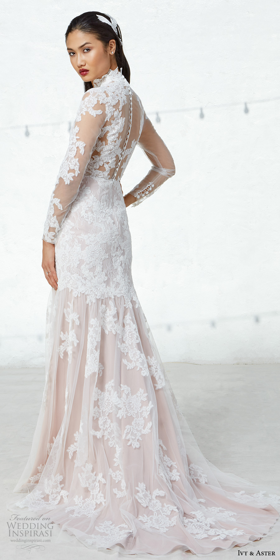 ivy aster fall 2017 bridal long lace sleeves high neck full embroidered elegant sheath wedding dress illusion lace back short train (linette) bv