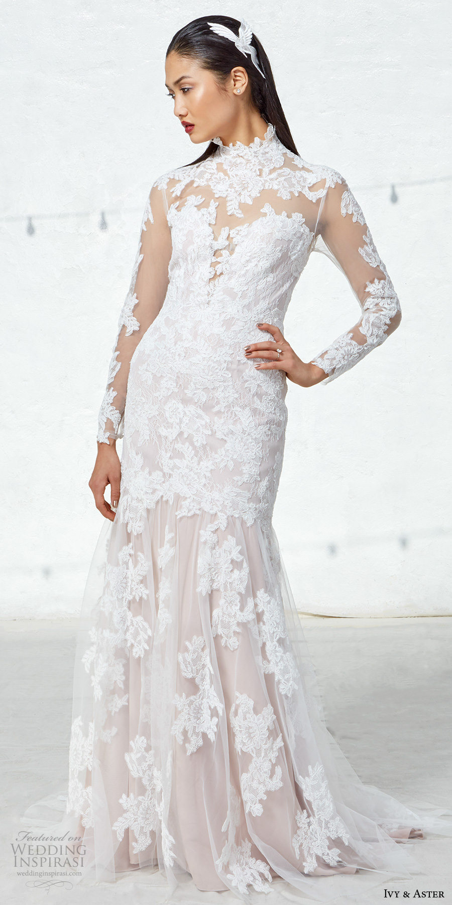 ivy aster fall 2017 bridal long lace sleeves high neck full embroidered elegant sheath wedding dress illusion lace back short train (linette) mv