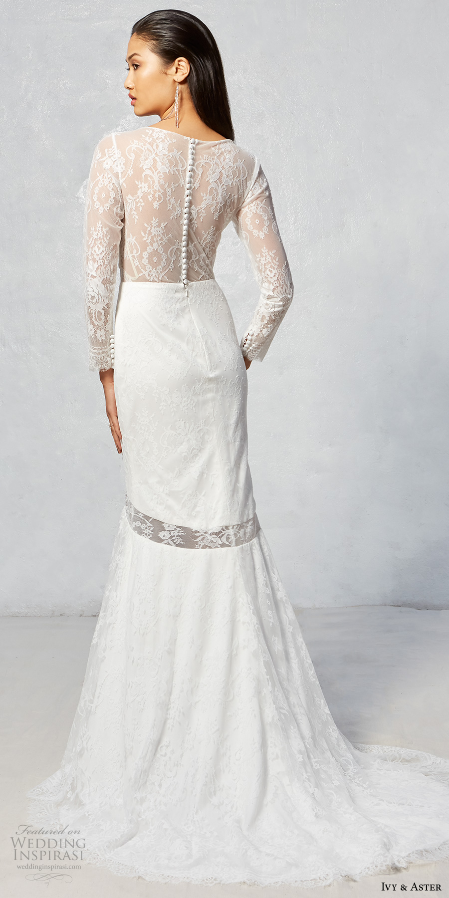 ivy aster fall 2017 bridal long lace sleeves v neck full embellishment elegant fit and flare wedding dress illusion lace back sweep train (hammond) bv