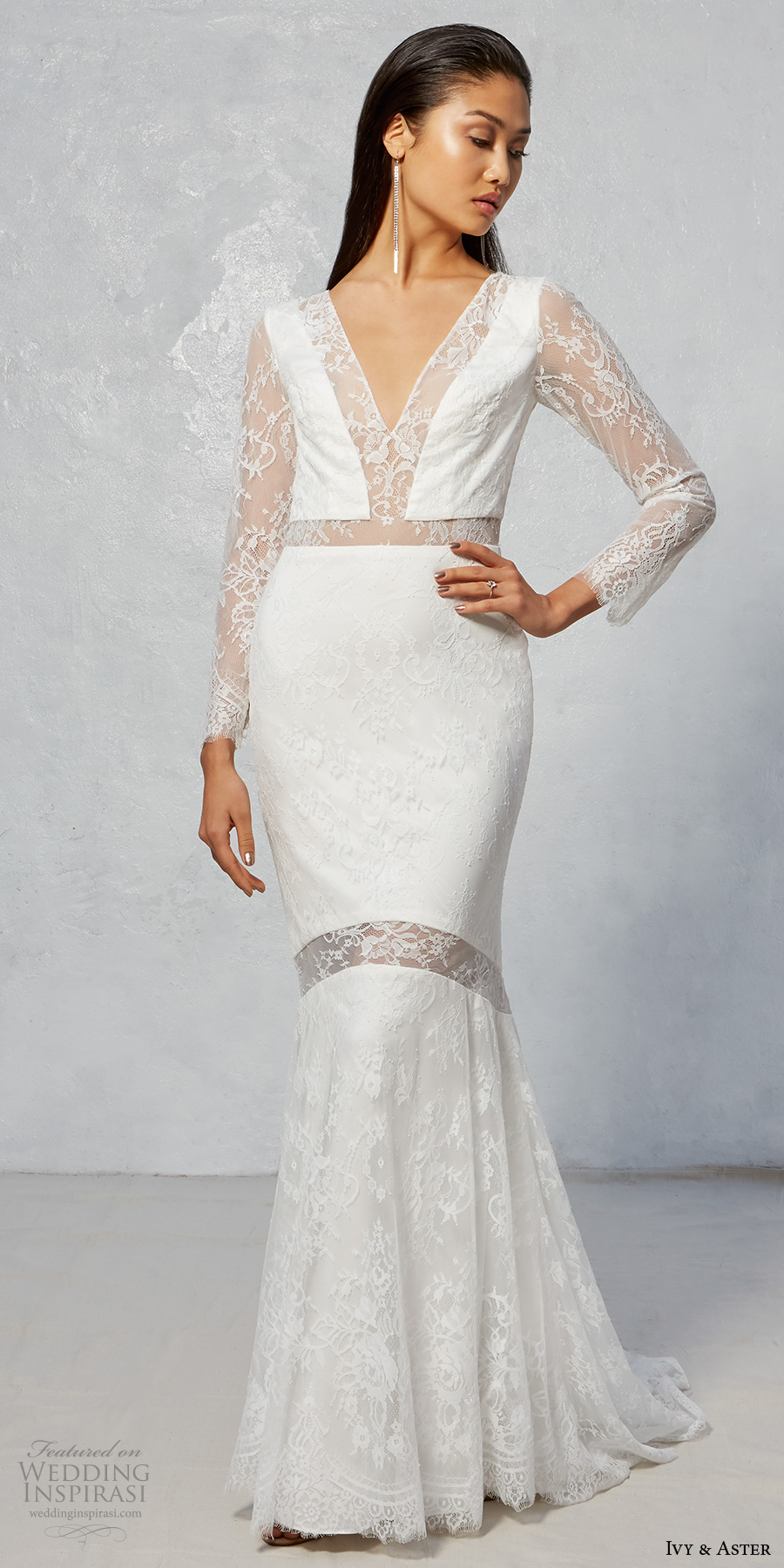 ivy aster fall 2017 bridal long lace sleeves v neck full embellishment elegant fit and flare wedding dress illusion lace back sweep train (hammond) mv