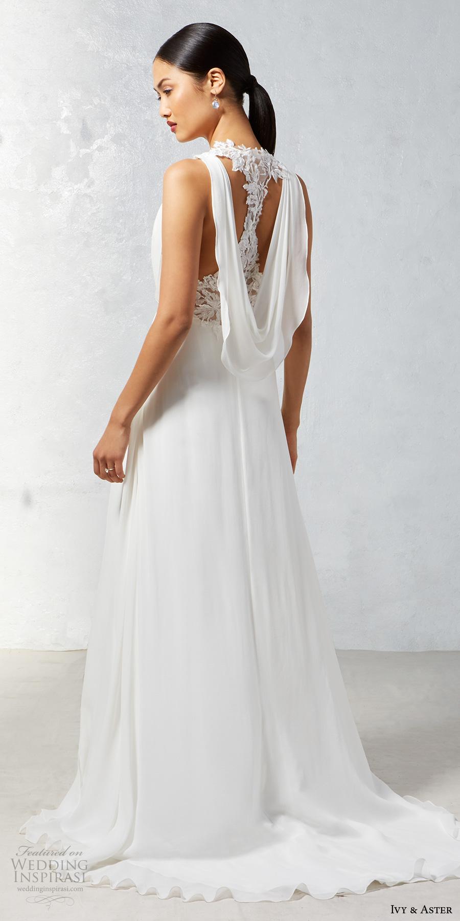 ivy aster fall 2017 bridal sleeveless deep v neck blouson drape simple bodice  elegant grecian sheath wedding dress cowl back chapel train (heron) bv