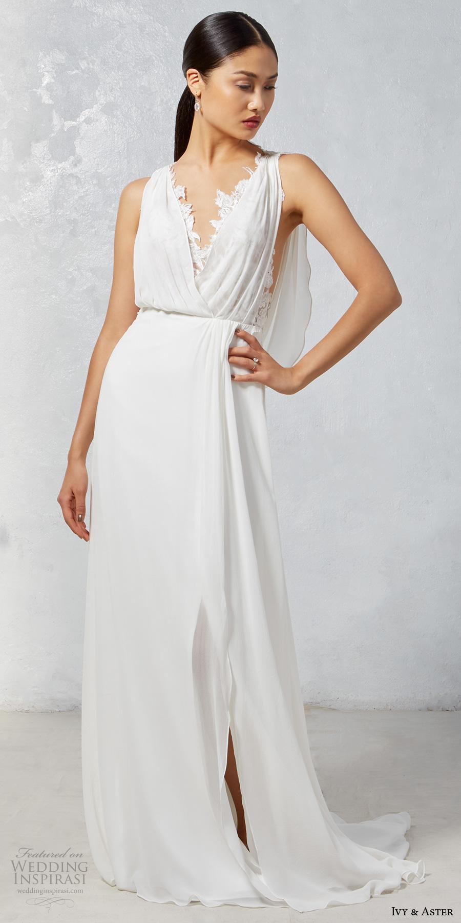 ivy aster fall 2017 bridal sleeveless deep v neck blouson drape simple bodice  elegant grecian sheath wedding dress cowl back chapel train (heron) mv