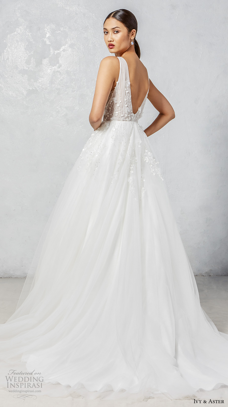 ivy aster fall 2017 bridal sleeveless deep v neck embellished bodice romantic a  line wedding dress open v back chapel train (faye) bv