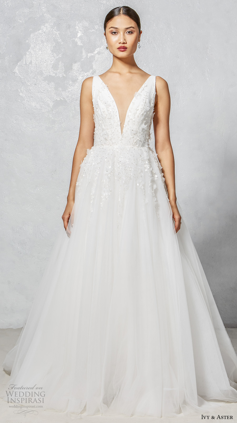 ivy aster fall 2017 bridal sleeveless deep v neck embellished bodice romantic a  line wedding dress open v back chapel train (faye) mv