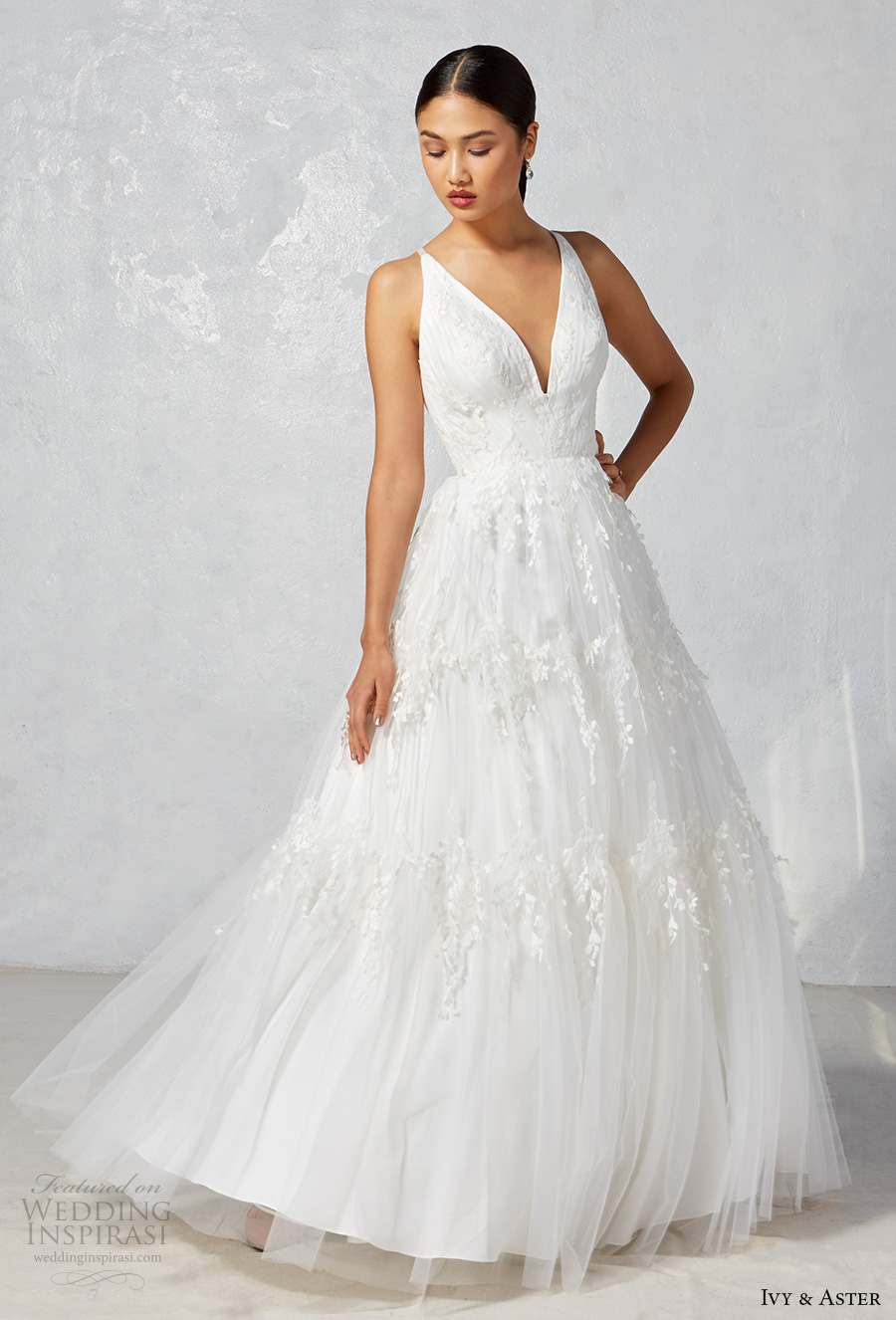ivy aster fall 2017 bridal sleeveless deep v neck embroidered bodice embroidered tulle skirt romantic a  line wedding dress strap back sweep train (dawn) mv