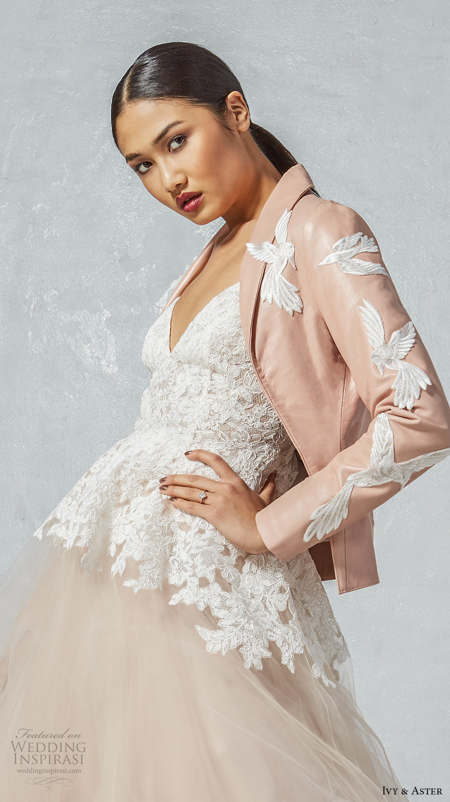 ivy aster fall 2017 bridal sleeveless spagetti strap sweetheart neckline heavily embroidered bodice blush tulle skirt romantic a  line wedding dress low back chapel train (ophelia fly jacket) bv