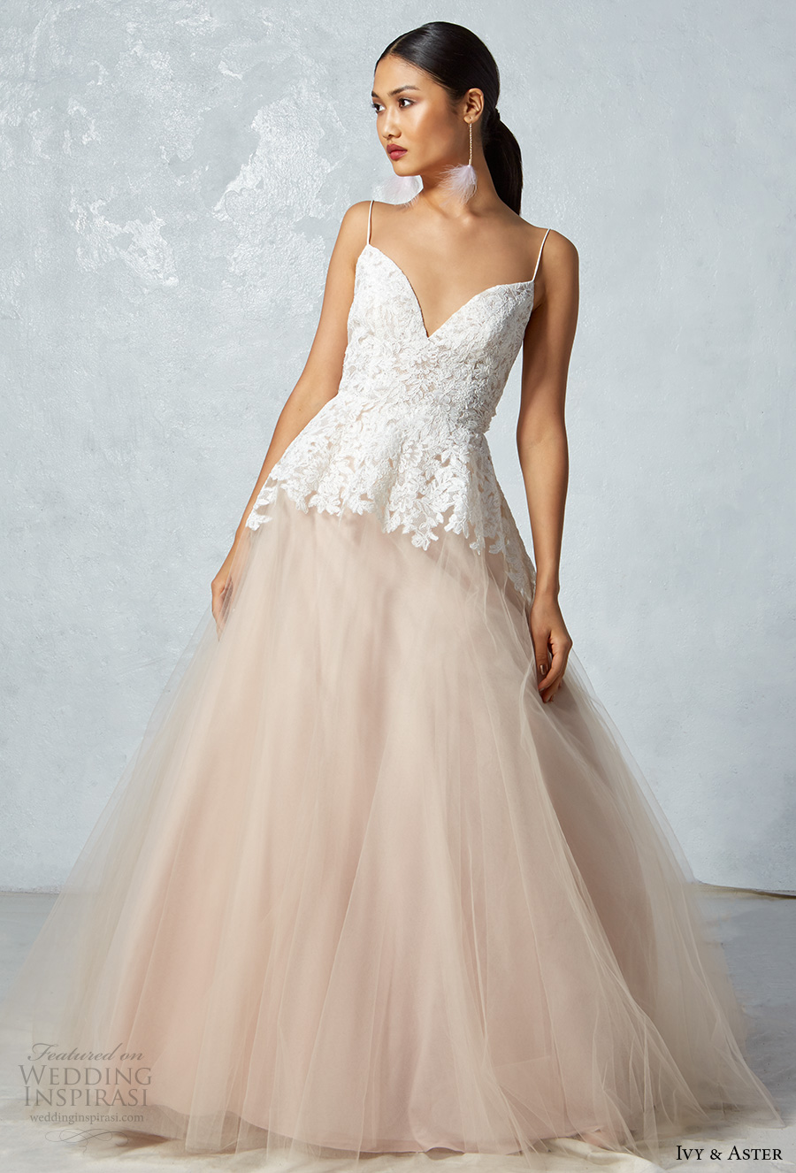 ivy aster fall 2017 bridal sleeveless spagetti strap sweetheart neckline heavily embroidered bodice blush tulle skirt romantic a  line wedding dress low back chapel train (ophelia) mv