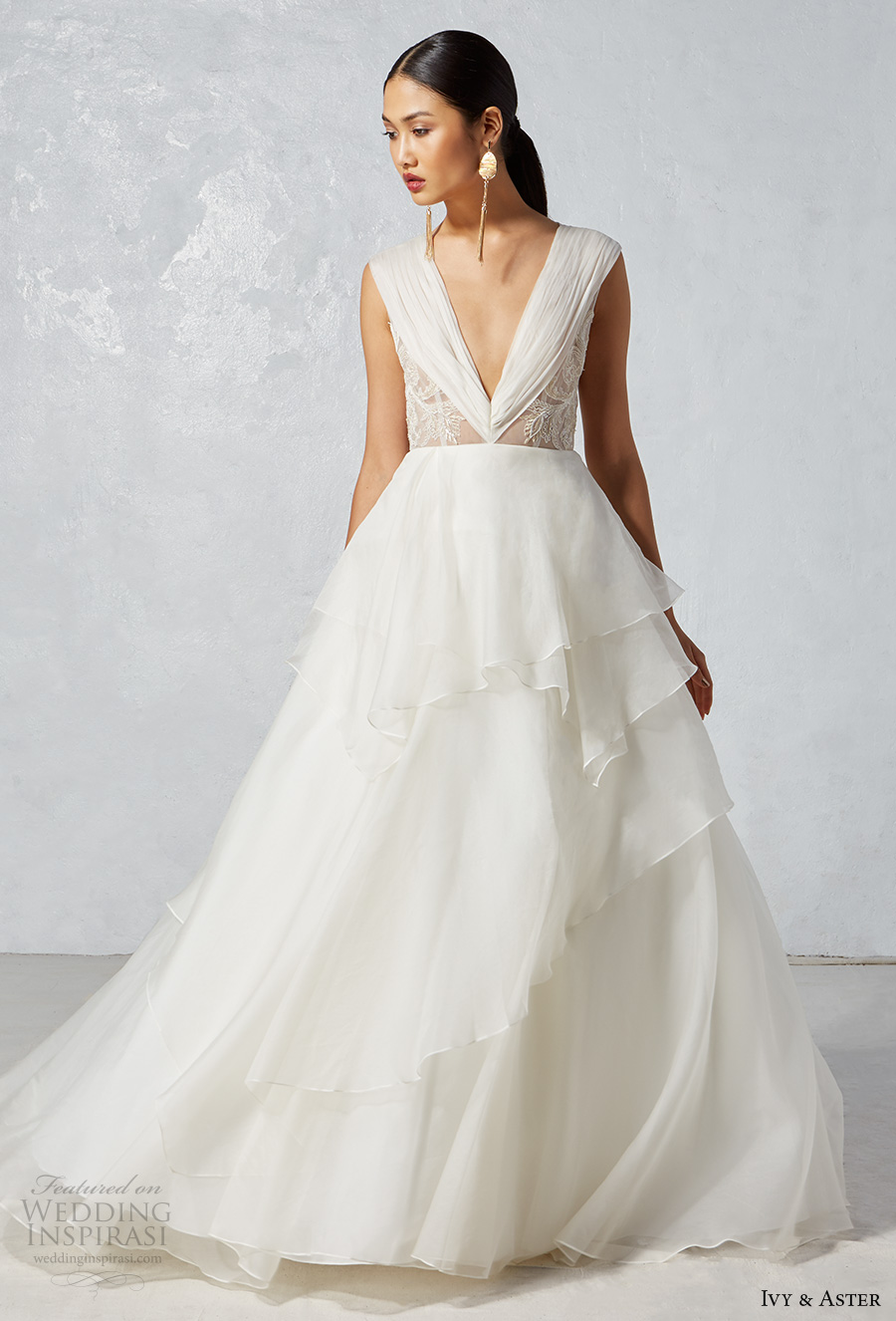 ivy aster fall 2017 bridal sleeveless v neck ruched bodice layered skirt romantic a  line wedding dress sheer back chapel train (cooper) mv