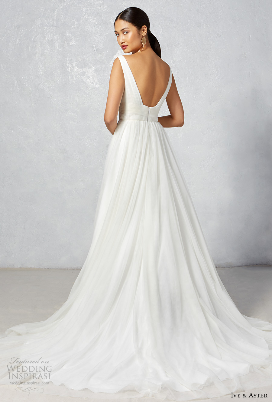 ivy aster fall 2017 bridal sleeveless with strap sweetheart neckline ruched bodice tulle skirt romantic a  line wedding dress open scoop back chapel train (leila) bv