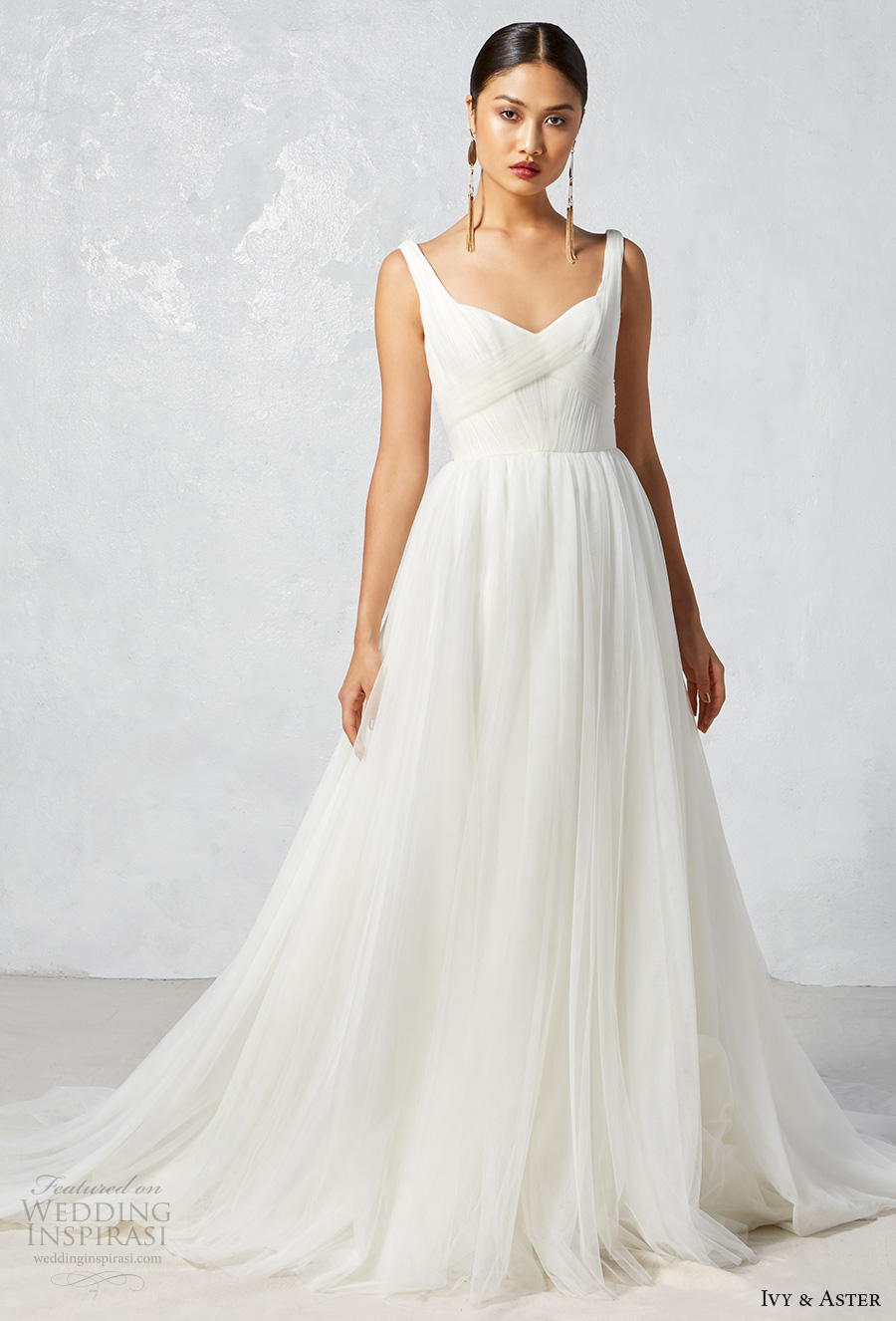 ivy aster fall 2017 bridal sleeveless with strap sweetheart neckline ruched bodice tulle skirt romantic a  line wedding dress open scoop back chapel train (leila) mv