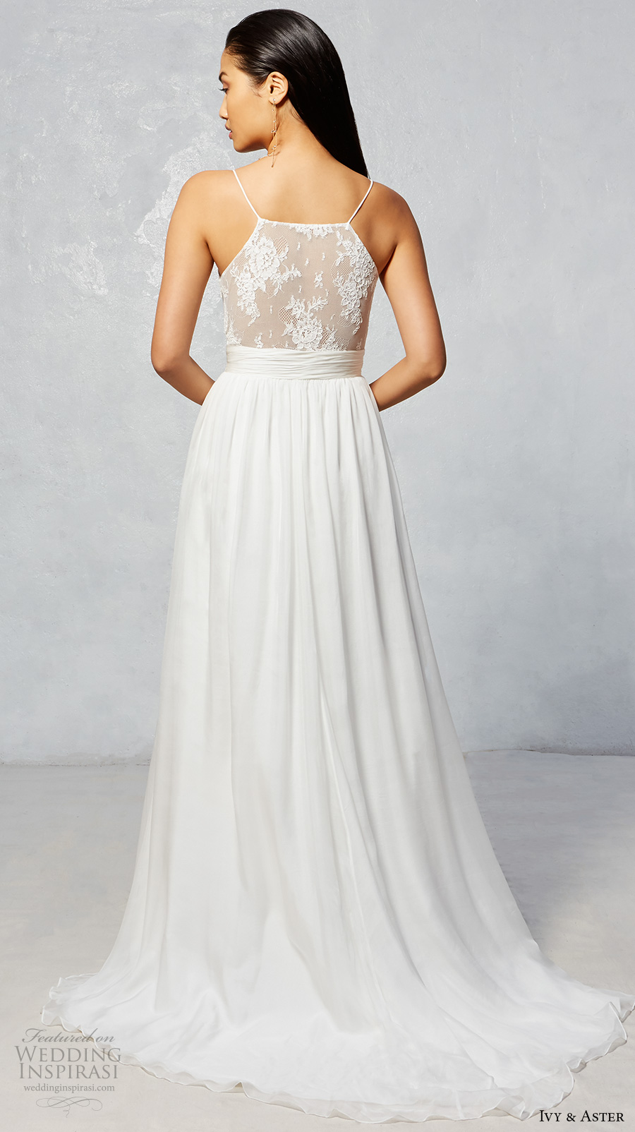ivy aster fall 2017 bridal spagetti strap scallop straight across neckline lace romantic side slit a  line wedding dress lace back sweep train (wren) bv