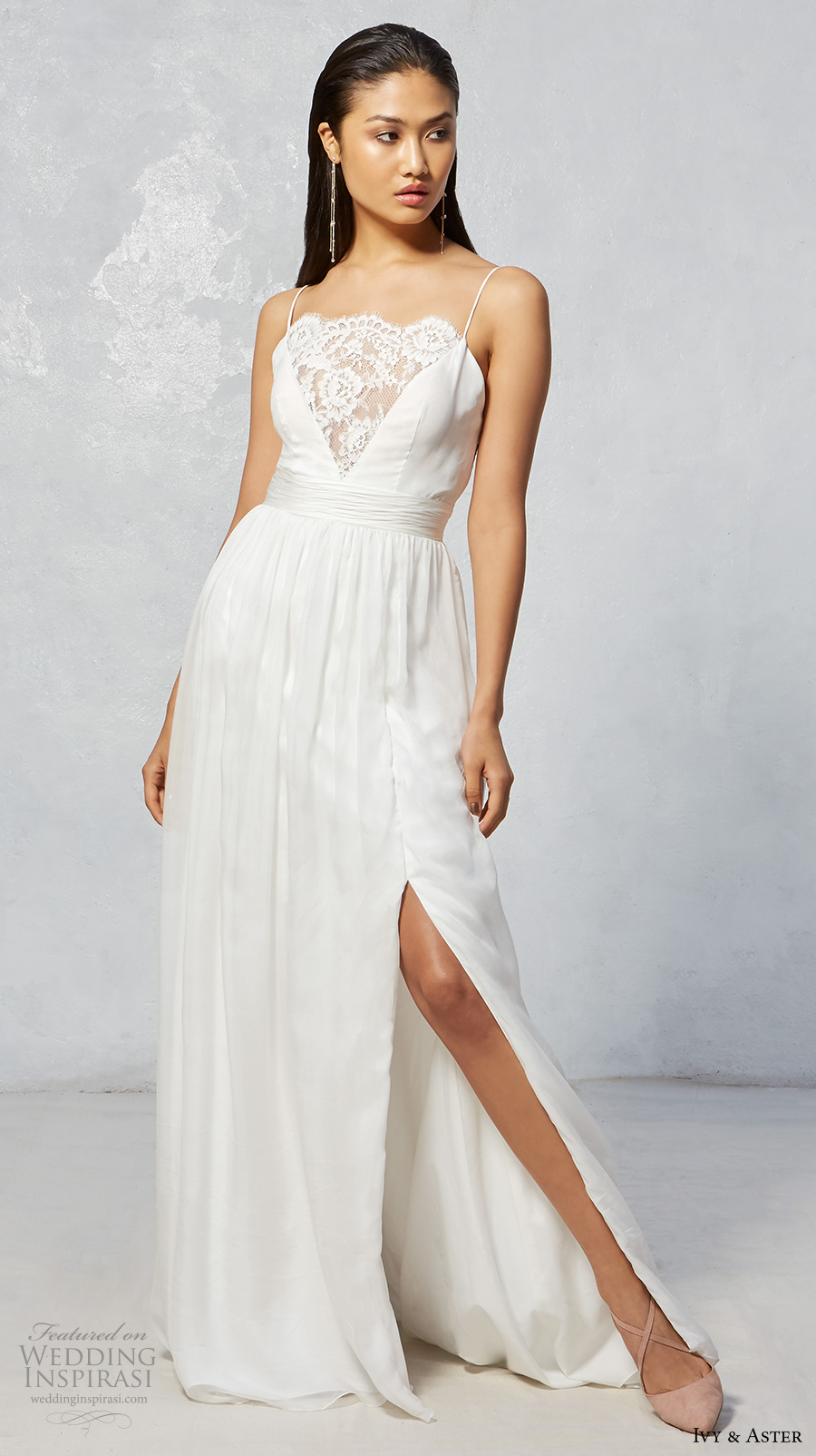 ivy aster fall 2017 bridal spagetti strap scallop straight across neckline lace romantic side slit a  line wedding dress lace back sweep train (wren) mv