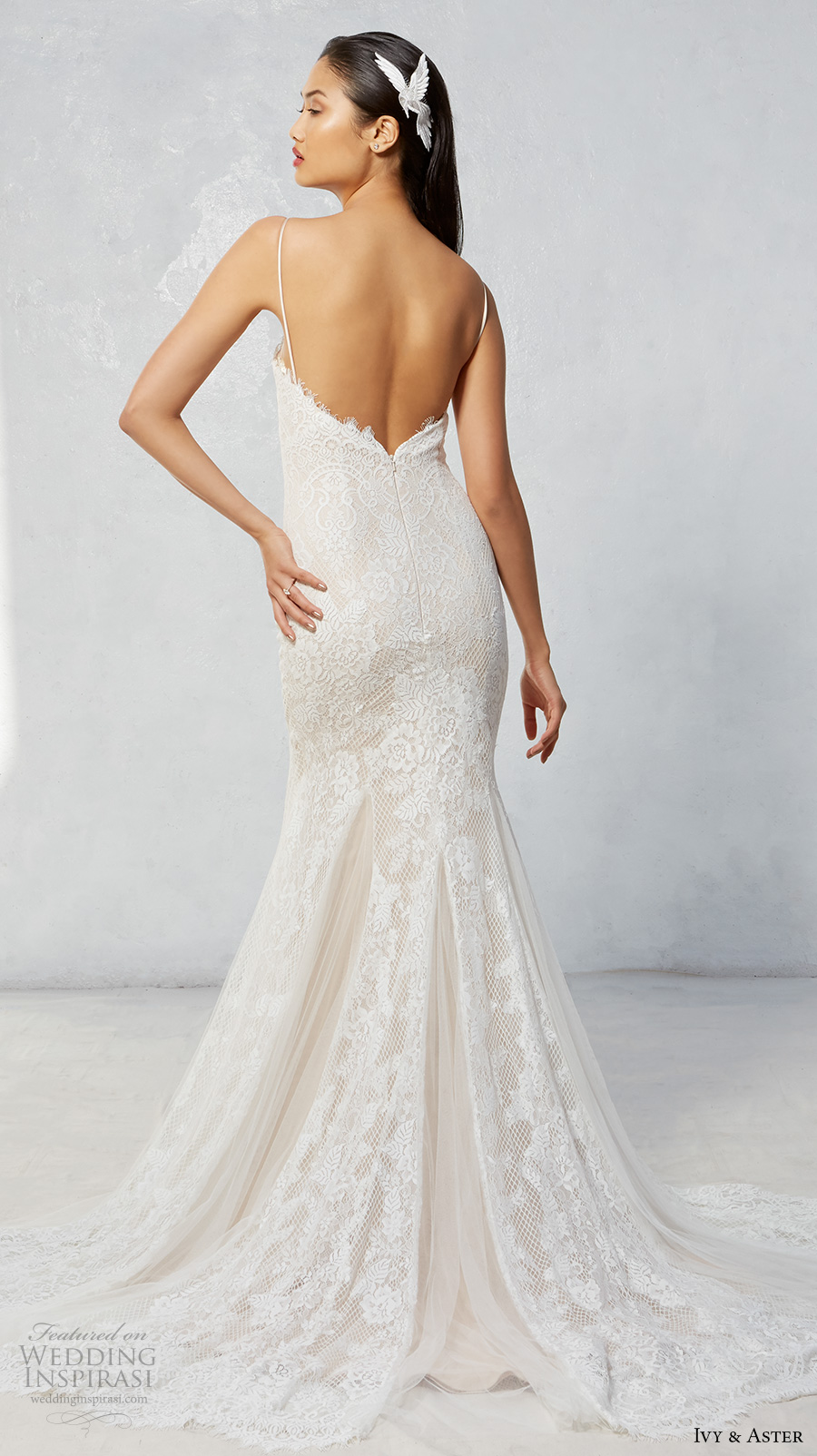 ivy aster fall 2017 bridal spagetti strap sweetheart neckline full embroidered elegant fit and flare mermaid wedding dress chapel train (talia) bv
