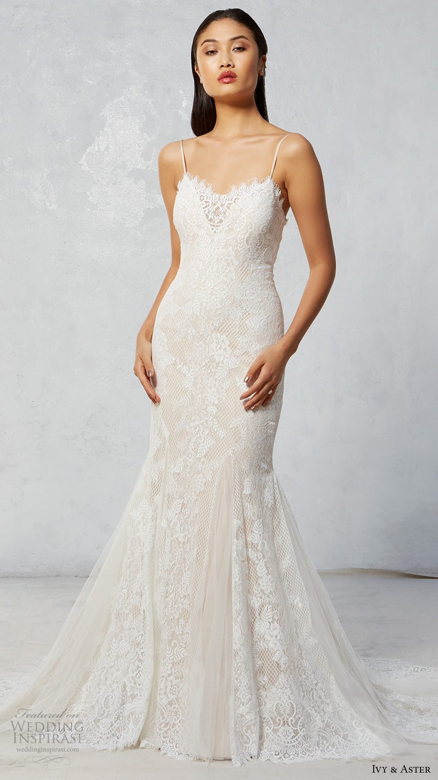 ivy aster fall 2017 bridal spagetti strap sweetheart neckline full embroidered elegant fit and flare mermaid wedding dress chapel train (talia) mv