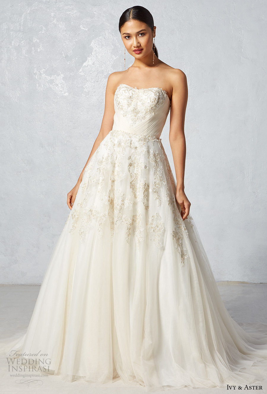 ivy aster fall 2017 bridal strapless semi sweetheart neckline heavily embroidered bodice upper skirt romanitc ivory color a  line wedding dress chapel train (monarch) mv