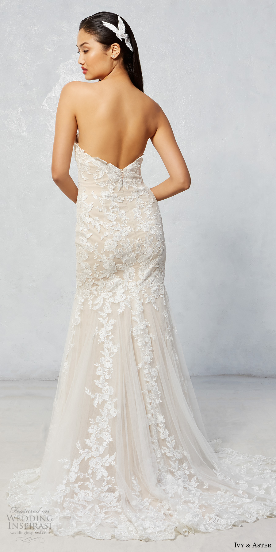 ivy aster fall 2017 bridal strapless sweetheart neckline full embroidered elegant romantic sexy trumpet wedding dress sweep train (raven) bv