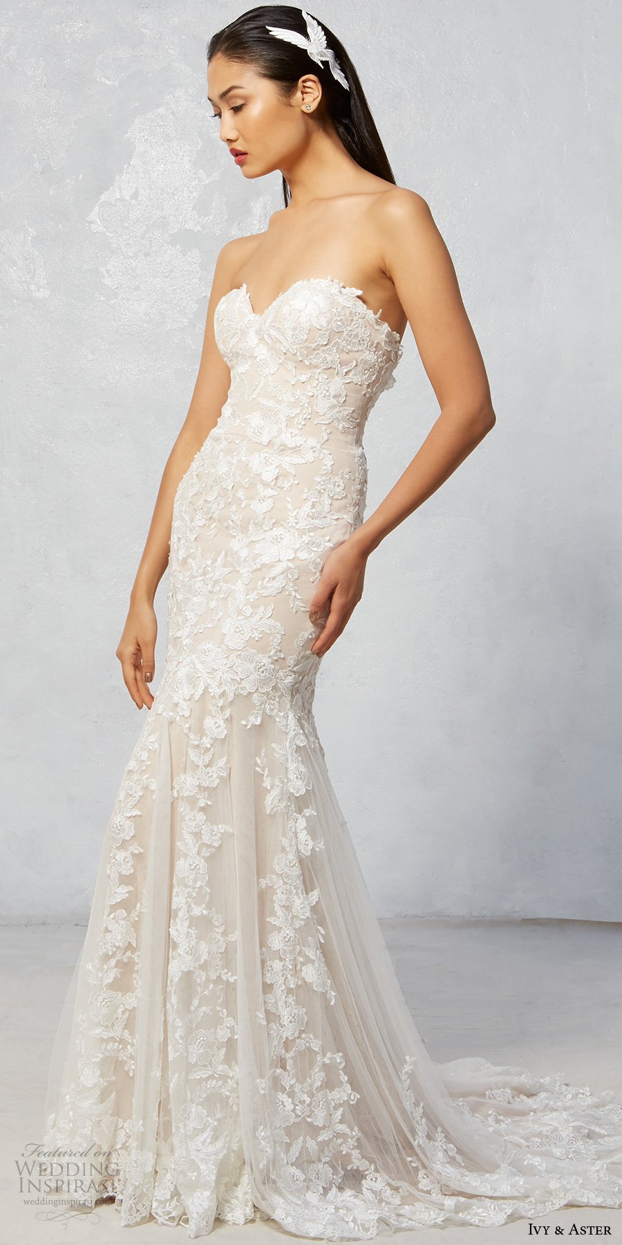 ivy aster fall 2017 bridal strapless sweetheart neckline full embroidered elegant romantic sexy trumpet wedding dress sweep train (raven) mv