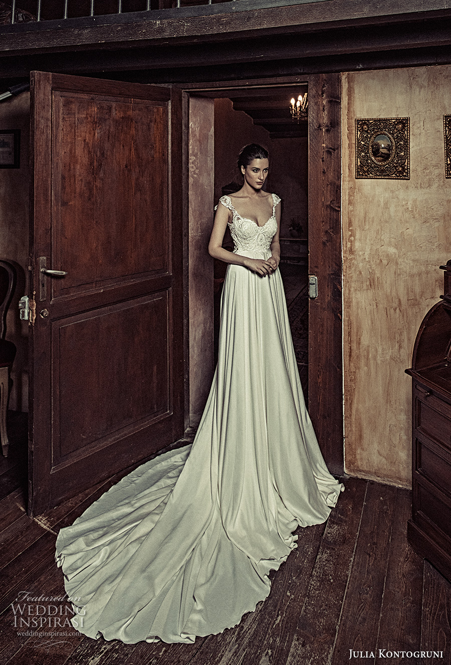 julia kontogruni 2017 bridal cap sleeves sweetheart neckline heavily embellished bodice satin skirt romantic pretty a  line wedding dress kehyole back long train (18) mv