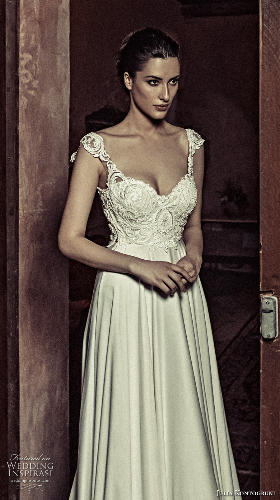 julia kontogruni 2017 bridal cap sleeves sweetheart neckline heavily embellished bodice satin skirt romantic pretty a  line wedding dress kehyole back long train (18) zv